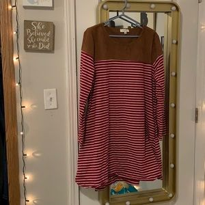 Striped suede elbow patched long sleeve dress